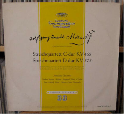 Wolfgang Amadeus Mozart, Amadeus-Quartett - Streichquartett C-dur KV 465 / Streichquartett D-dur KV 575 (LP, Mono)