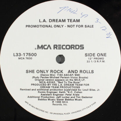 """L.A. Dream Team - She Only Rock And Rolls (12"""", Promo)"""