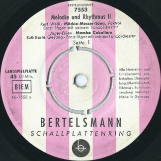 """Ernst Jäger Mit Seinem Tanzorchester*, Willi Stanke Mit Seinem Streichorchester* - Melodie Und Rhythmus II (7"""", EP, Mono)"""