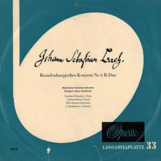 """Johann Sebastian Bach, Münchener Kammerorchester, Hans Stadlmair - Brandenburgisches Konzert Nr. 6 B-dur (10"""", Album, Mono, Club)"""