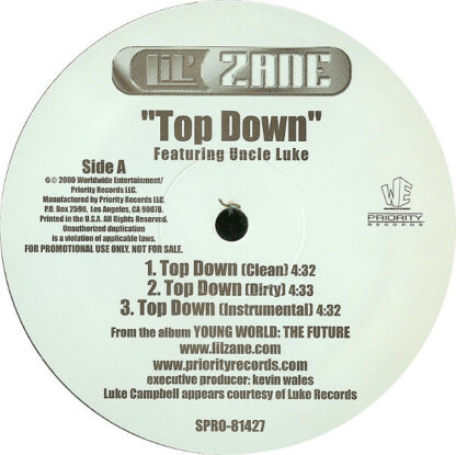 "Lil' Zane Feat Uncle Luke - Top Down / Ride On Em (12"", Promo)"
