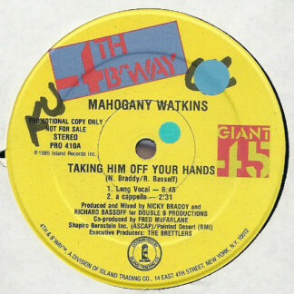 "Mahogany Watkins* - Taking Him Off Your Hands (12"", Single, Promo)"