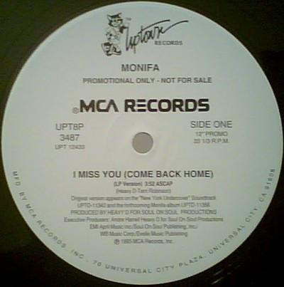 "Monifa* - I Miss You (Come Back Home) (12"", Single, Promo)"