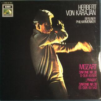 "Mozart* - Herbert von Karajan, Berliner Philharmoniker - Sinfonie Nr. 38 D-Dur KV504 ""Prager"" - Sinfonie Nr. 39 Es-Dur KV543 (LP, Album)"