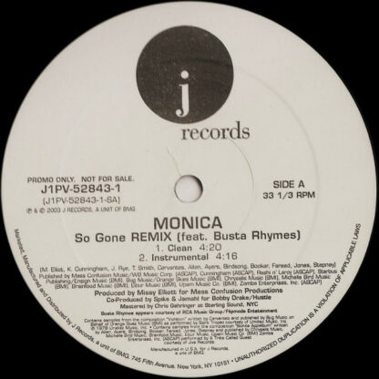 """Monica Feat. Busta Rhymes - So Gone (Remix) (12"""", Promo)"""