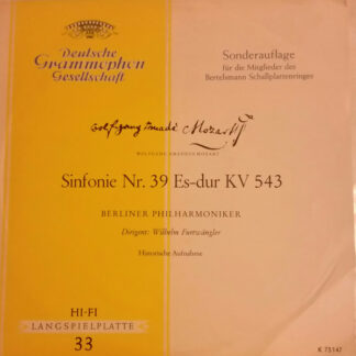 "Wolfgang Amadeus Mozart - Berliner Philharmoniker , Dirigent: Wilhelm Furtwängler - Sinfonie Nr. 39 Es-Dur KV 543 (10"", Mono, Club, Ltd)"