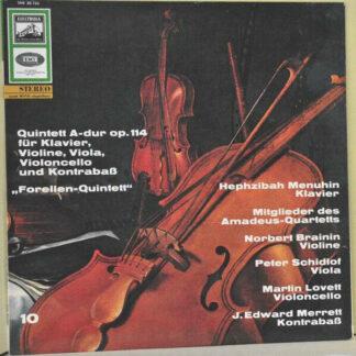 """Schubert* / Hephzibah Menuhin / Mitglieder Des Amadeus Quartet* - Quintett A-Dur, Op. 114 Fur Klavier, Violine, Viola, Violoncello Und Kontrabass """"Forellen-Quintet"""" (LP, RE)"""