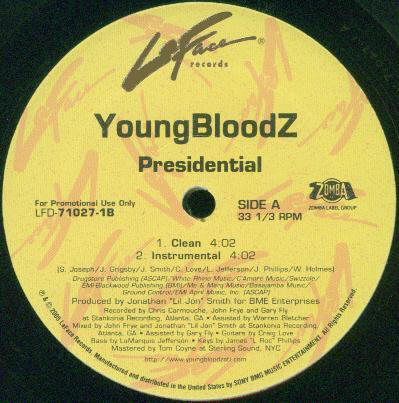 """YoungBloodZ - Presidential (12"""", Promo)"""