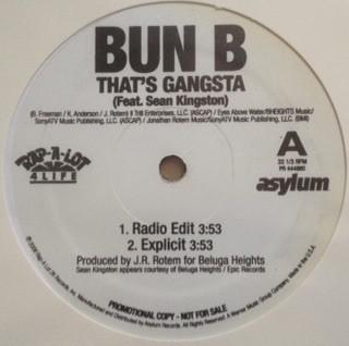 """Bun B Feat. Sean Kingston - That's Gangsta (12"""", Single, Promo)"""