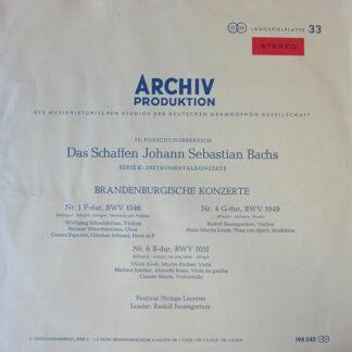 Johann Sebastian Bach, Festival Strings Lucerne, Rudolf Baumgartner - Brandenburgische Konzerte Nr. 1, Nr. 4, Nr. 6 (LP)