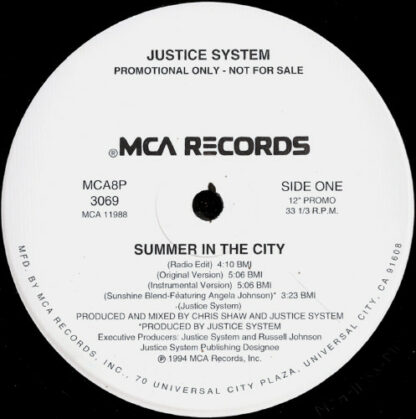 "Justice System - Summer In The City (12"", Promo)"