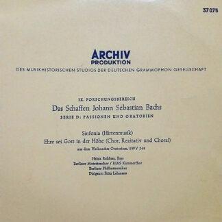 "Johann Sebastian Bach - Sinfonia (Hirtenmusik) / Ehre Sei Gott In Der Höhe (Chor, Rezitativ Und Choral) (7"", EP)"