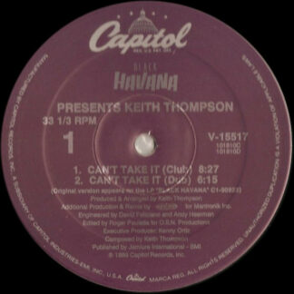 """Keith Thompson - Can't Take It (12"""")"""